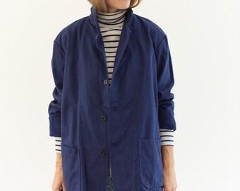 Vintage Navy Blue Moleskin Chore Jacket   Unisex Dark Blue Cotton Utility Work Jacket   M   IT059
