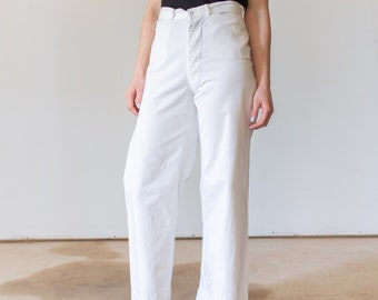Vintage White Sailor Pant | High Rise Button Fly Cotton Trousers | Navy Pants