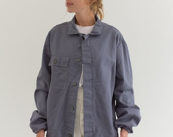 Vintage Grey Moleskin Coat | Unisex Cotton Utility Work Jacket | Made in Italy | M | IT043
