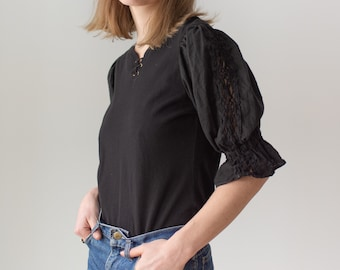 Vintage Black Puff Sleeve Shirt | Grommet | Crochet | Romantic Blouse | S M | BP093