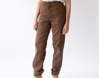 Vintage 28 29 Waist Coffee Brown Cotton Chinos | Button Fly Trousers |