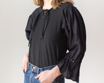 Vintage Black Puff Sleeve Shirt | Linen Tie Up | Romantic Blouse | XS S | BP104