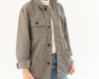 Vintage Grey Chore Jacket   Unisex Cotton Workwear Style Utility Work Coat Blazer   Made in Italy   S M   IT061