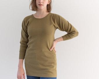 Vintage Green Long Sleeve Thermal | CrewNeck Cotton Wool Blend Made USA Layer | Military Shirt