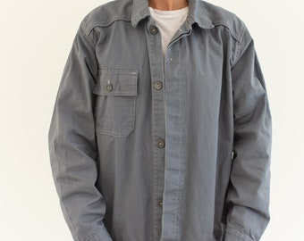 Vintage Slate Grey Work Coat | Cotton Utility Work Jacket | M L | IT046
