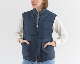 Vintage Navy Blue Puffer Vest | The Down Look Quilted Layer | Deadstock NOS with Tags | S