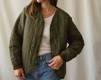 Vintage Olive Green Cotton Quilt Jacket   Puffer   S M   CC001