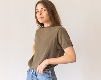 Vintage [Olive Green, Olive Brown, Sage Green] Thick Crew T Shirt | Worn in Crewneck Tee | S M |