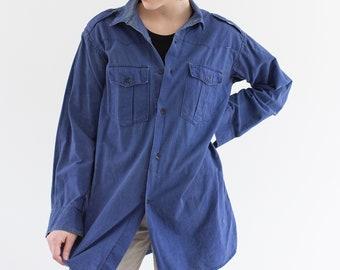 Vintage Sun faded Blue Work Shirt | Cotton Button Up Overshirt | S M |