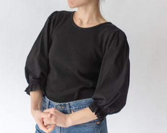 Vintage Black Puff Sleeve Shirt | Rib Knit Cotton | Romantic Blouse | XS S | BP001