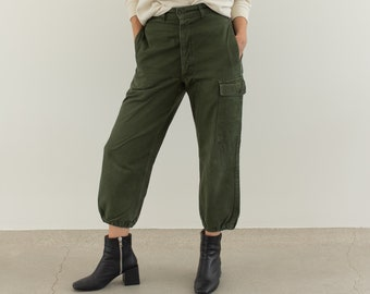 Vintage 27 Waist Olive Green Fatigues | Cargo Trousers | Army Pants | AP169