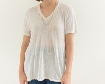 Vintage Cotton White V Neck Tee T Shirt | Semi sheer T-Shirt Tee Shirt Top | Made USA | S | T027
