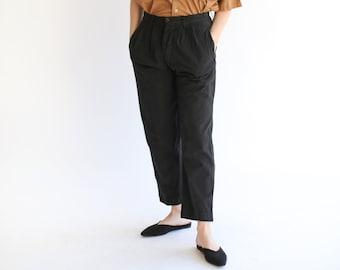 Vintage 28 29 Waist Black Pleat Cotton Twill Chinos | Button Fly Taper Leg Trouser | Overdye |