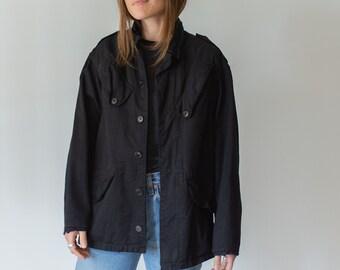 Vintage Overdye Black Safari Jacket | Angle Pockets | Drawstring Waist |