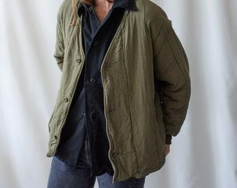 Vintage Olive Green Cotton Quilt Jacket   V Neck Puffer Coat   M L   CC004
