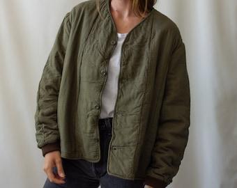 Vintage Olive Green Cotton Quilt Jacket | Puffer Coat | M L | CC003