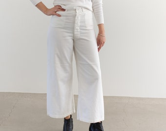Vintage 31 Waist White Sailor Pant | High Rise Button Fly Cotton Trousers | Navy Pants | WS---