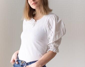 Vintage White Puff Sleeve Shirt | Crochet Folk Blouse | XS S | BP120