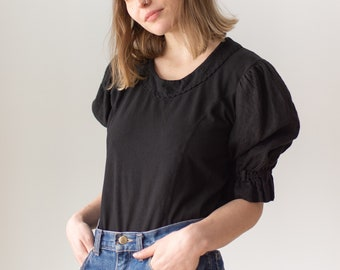 Vintage Black Puff Sleeve Shirt | Linen Scallop | Romantic Blouse | S M | BP109