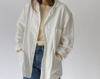 Vintage White Three Pocket Chore Coat | Cotton Jacket | Vintage Workwear | Made in USA |