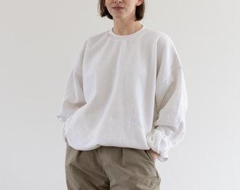 Vintage 90s White [Navy Blue] Crew Sweatshirt | Heavyweight Blank Cozy Fleece Sweat | Made in USA | L XL |