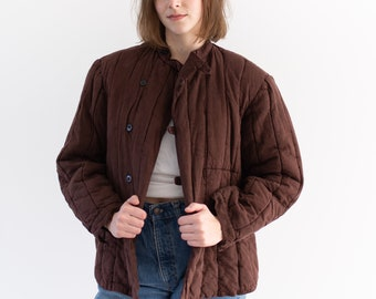Vintage Hickory Brown Cotton Quilt Jacket | Puffer | S |