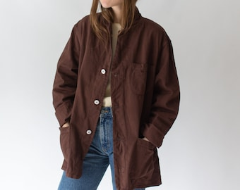 Vintage Hickory Brown Overdye Chore Jacket | Dark Brown Unisex Work Coat Blazer | L