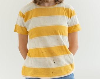 Vintage 60s White Yellow Stripe T-shirt   JSI All American Worn Tee Shirt   XS S  