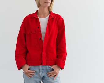 Vintage Bright Red Work Jacket | Cotton Workwear Style Utility Coat | Made in Italy | M | IT---