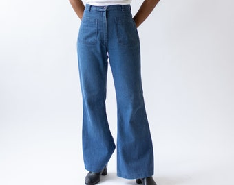Vintage 28 Waist Flare Jean | 70s Bell Bottom Kick Flare | Nautical Birkin Sailor |