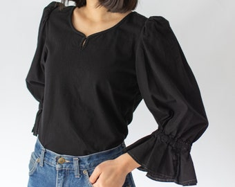 Discounted Vintage Black Puff Sleeve Shirt | Flamenco | Romantic Blouse | S | BP007