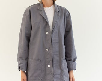 Vintage Grey Chore Coat | Unisex Cotton Utility Work Jacket | Made in Italy | S M | It048