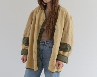 Vintage Reversible Green Cream Liner Jacket | 50s Pile Nylon Coat | L XL |