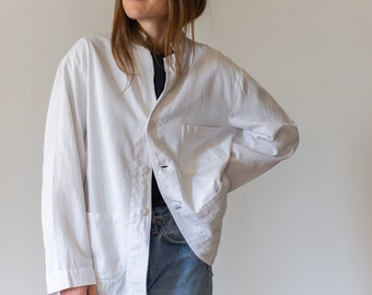 Vintage White Three Pocket Chore Coat | Cotton Jacket | Vintage 50s 60s Workwear | Made in USA | XS S M L