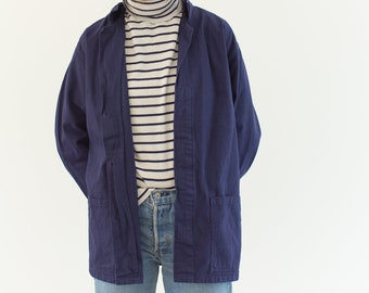 Vintage Blue Chore Jacket | Unisex Navy Blue Cotton Utility Work Coat | Made in Italy | M L | IT055