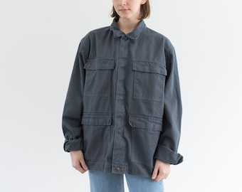 Vintage Slate Grey Four Pocket Work Coat | Cotton Utility Work Jacket | M L | IT200