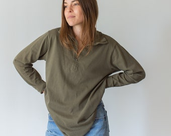 Vintage Olive Green Half Zip Layer | Lightweight Sweatshirt | Thermal |