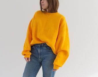 Vintage 90s Pollen Yellow Sweatshirt | Heavyweight Blank Cozy Fleece V stitch Sweat | Made in USA | L XL |