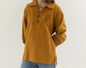 Vintage Mustard Yellow Moleskin Lace up Popover | 70s Western Pullover Tunic | M
