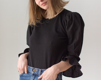 Vintage Black Puff Sleeve Shirt | Cotton | Romantic Blouse | XS S | BP097