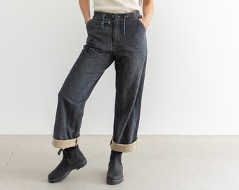 Vintage 26 30 31 33 Waist Linen Cotton Drawstring Utility Jeans | Made in Spain Pants | Straight Leg High Waist Jean |