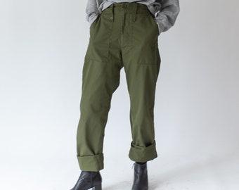 Vintage 26-30 Waist Army Pants | Cotton Poly Utility Pant | Green Fatigues | 27 28 29 Waist