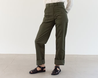 Vintage 27 28 Waist Slim Olive Green Army Pants Trousers | 80s Utility Fatigues | Made in USA | Gung Ho