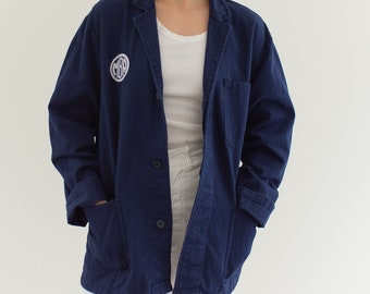 Vintage Navy Blue Chore Coat | Unisex Dark Blue Cotton Military Utility Work Jacket | M | IT057