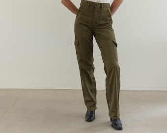 IMPERFECT Vintage 26 27 Waist Slim Olive Green Army Pants | Cargo Pocket 80s Utility Fatigues |