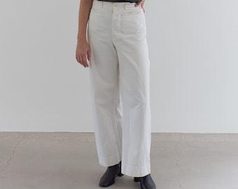 Vintage 27 Waist White Sailor Pant | High Rise Button Fly Cotton Trousers | Navy Pants | WS005