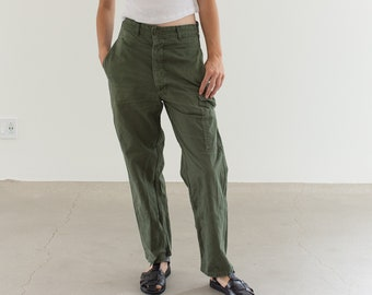 Vintage 27 Waist Olive Green Fatigues | Cargo Trousers | Pleated Army Pants | AP153