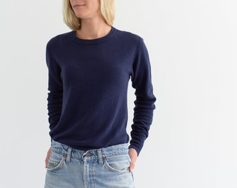 Vintage Navy Blue Cotton Waffleknit Thermal | Long Sleeve Top Shirt | S M