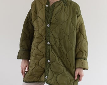 Vintage Green Liner Jacket White Buttons | Two Tone Quilted Nylon Coat | M L XL | LI009