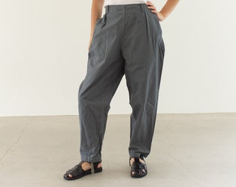 Vintage 22-26 Waist Slate Grey Utility Pant | High Waist Cotton Pants | Workwear Trousers | 23 24 25
